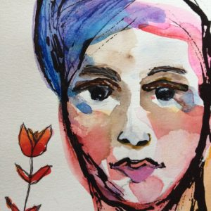 """Watercolor, pen and ink on paper 5""""x 5"""""""