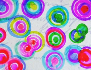 Painted watercolor circles with left over paint.