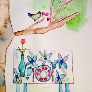 """The table has set properly, just picking some more fruit for the salad. Watercolor and pen and ink on paper 5""""x 5"""""""