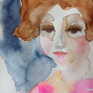 Hydrangea inspired, watercolor on paper