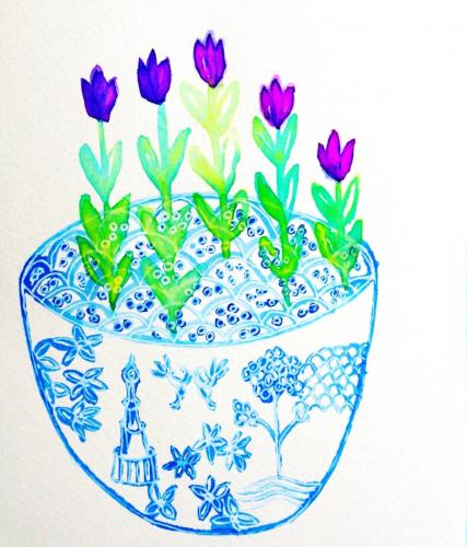 Blue willow and tulips