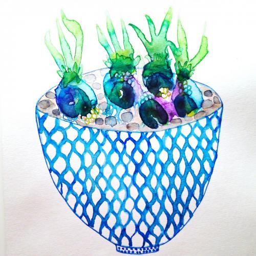 Vase with Hyacinths watercolor painting
